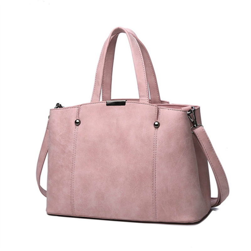 Hot Sale Nubuck Leather Women Rivet Women Bags Leather Tote Bag Candy Color Pink Female aluminium Shoulder Bag trendy zippers and candy color design women s tote bag