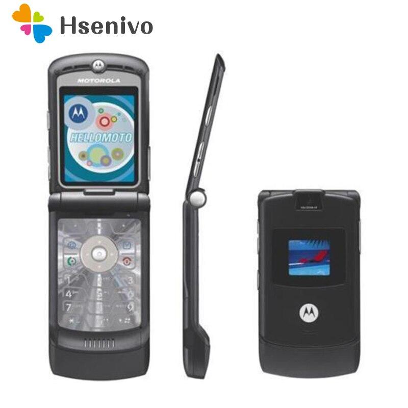 100% GOOD quality Original Motorola Razr V3 mobile phone one year warranty +free gifts feature phone