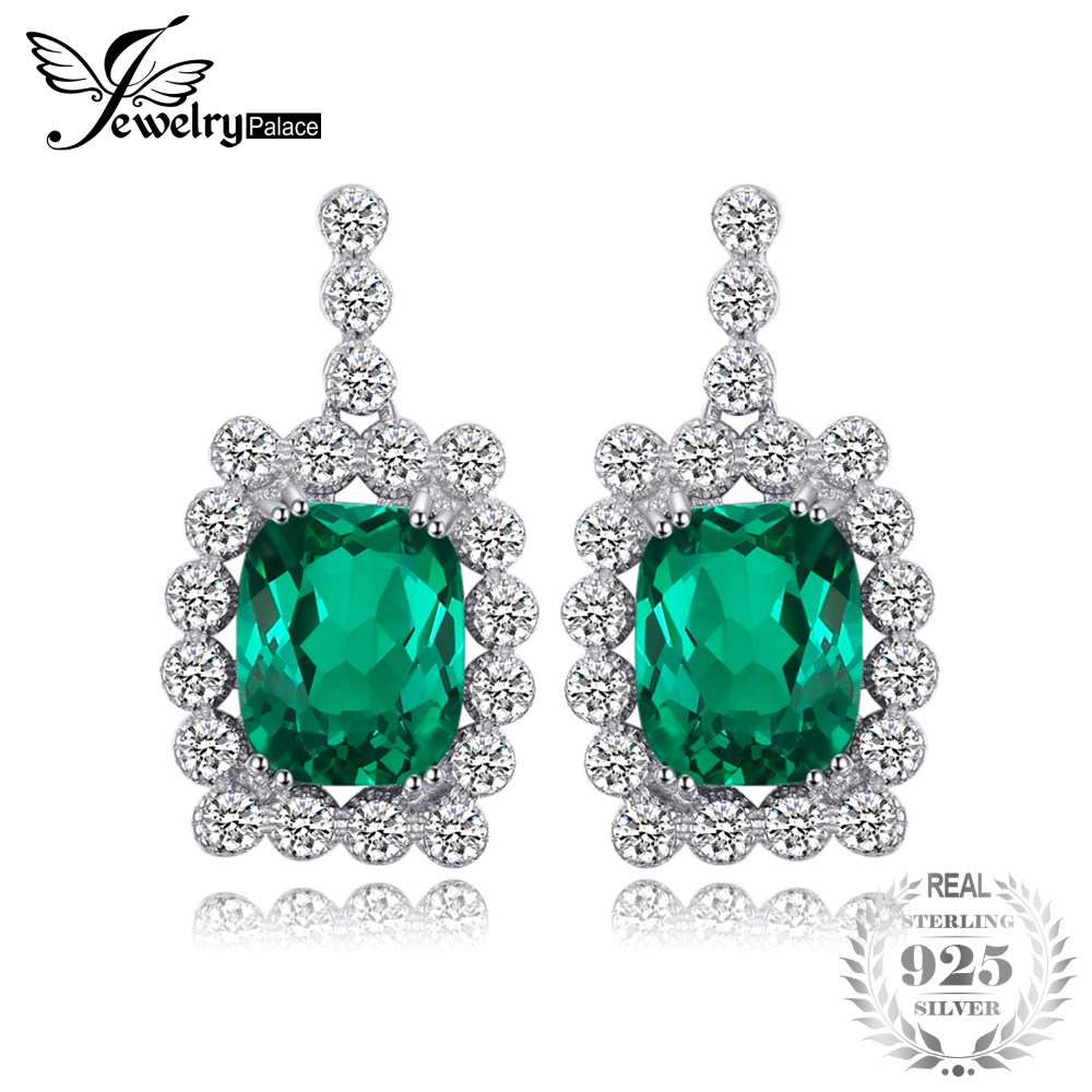 JewelryPalace Luxury 6.87ct Created Emerald Drop Earrings 100% Real 925 Sterling Silver Women Fine Wedding Jewelry цена