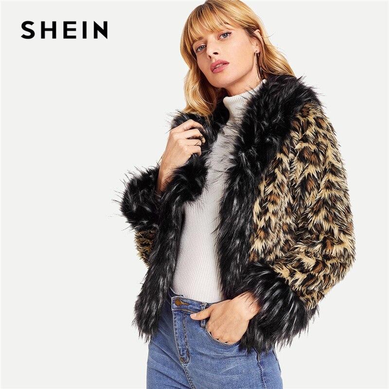 Шеин Многоцветный элегантный Highstreet искусственный мех Леопардовый принт с длинным рукавом повседневное пальто 2018 зима уличная женщина