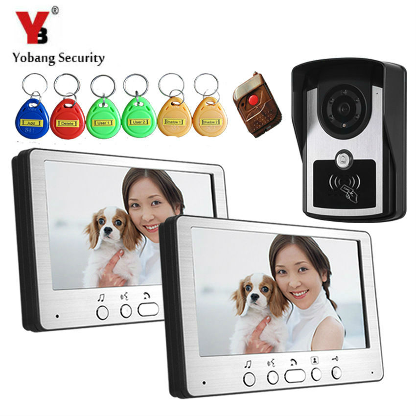 Yobang Security 700TVL Remote Control Video Door Phone Visual Bell Intercom Monitor Doorphone Kit system With 5pcs RFID Keyfobs yobang security 7 inch video door phone visual doorbell doorphone intercom kit with metal villa outdoor unit door camera monitor