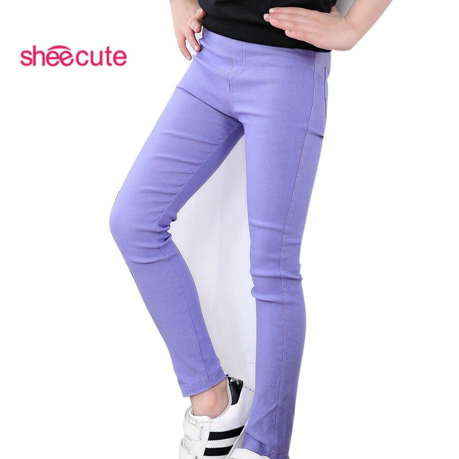 Sheecute niñas pantalones niños caramelo color de lápiz de color niños pantalones ajustados de longitud completa pantalones para 3-12Y SQB1121