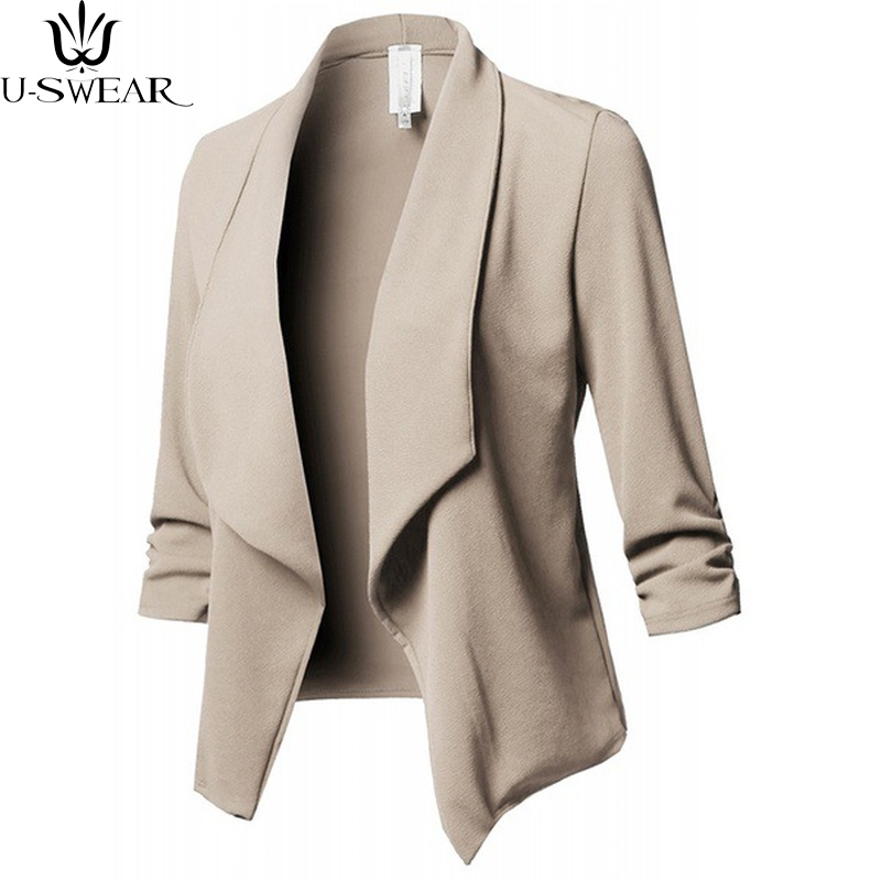 U-SWEAR Autumn Fashion Candy Color Jacket Coat Women Slim Long Sleeves Pleated Solid Color Small Suit Jacket Plus Size S-5XL
