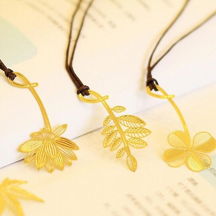50pcs/lot NEW Nice 18K Golden Plant Series Mini Metal Bookmark Fashion Gift Students' Prize Office School Stationery Supplies