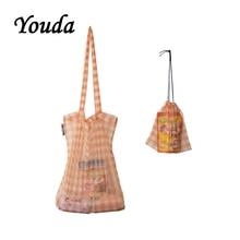 Youda 2019 New Korean Plaid Mesh Material Shoulder Bag Simple Ladies Handbag Fashion Light Shopping Bags Casual Style Tote