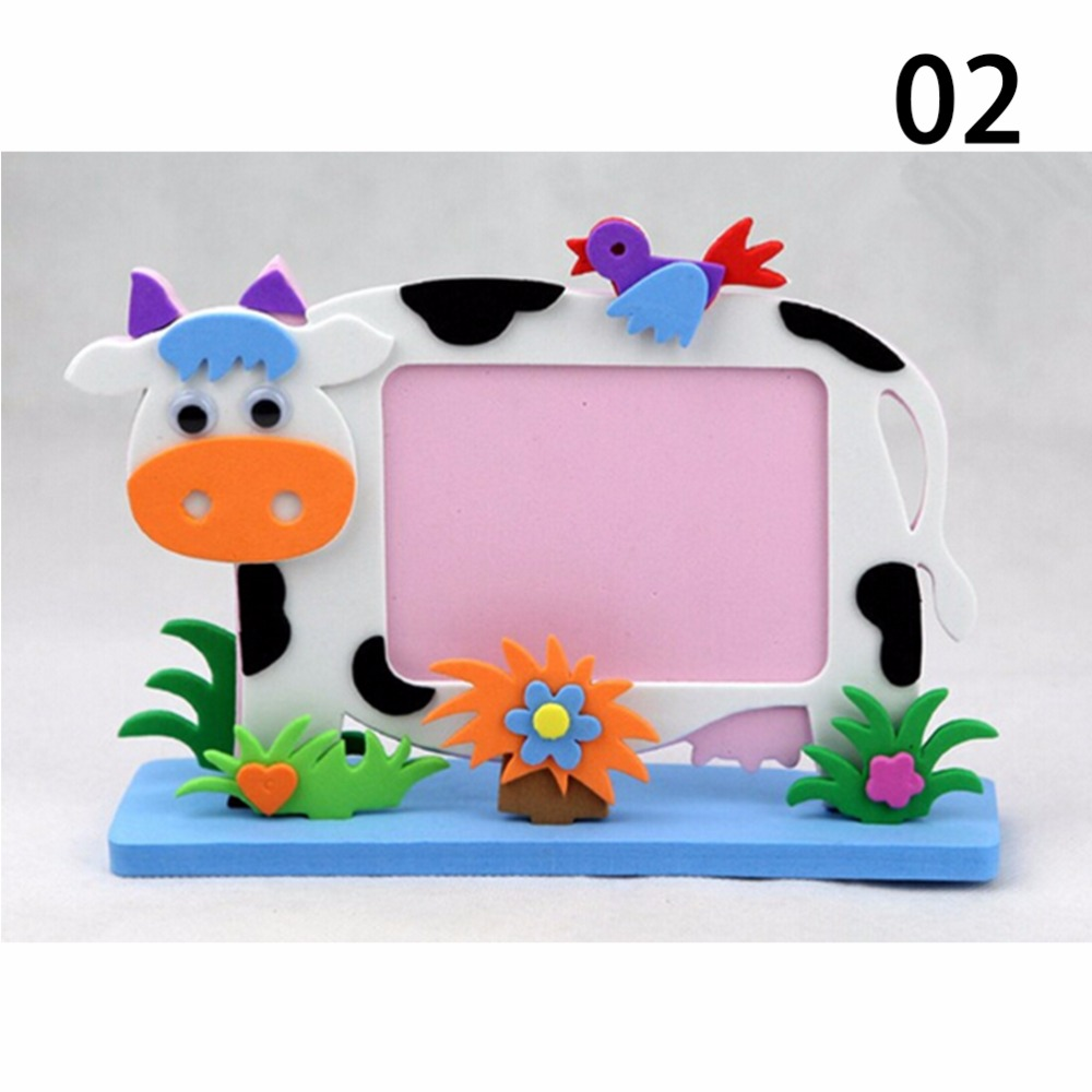 Craft toys for kids - Bee Owl Giraffe Dinosaur Elephant Cow Turtle Eva Photo Frame Foam Craft Toy Kids Diy Kits