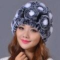 Winter Rex Rabbit Fur Hat Rose Korean thickening Warm Woolen hat Solid Headwear  Genuine Winter Women Fur Caps Headgear Beanies