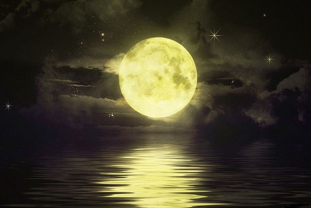 full moon shimmering over the ocean earth picture poster art wall