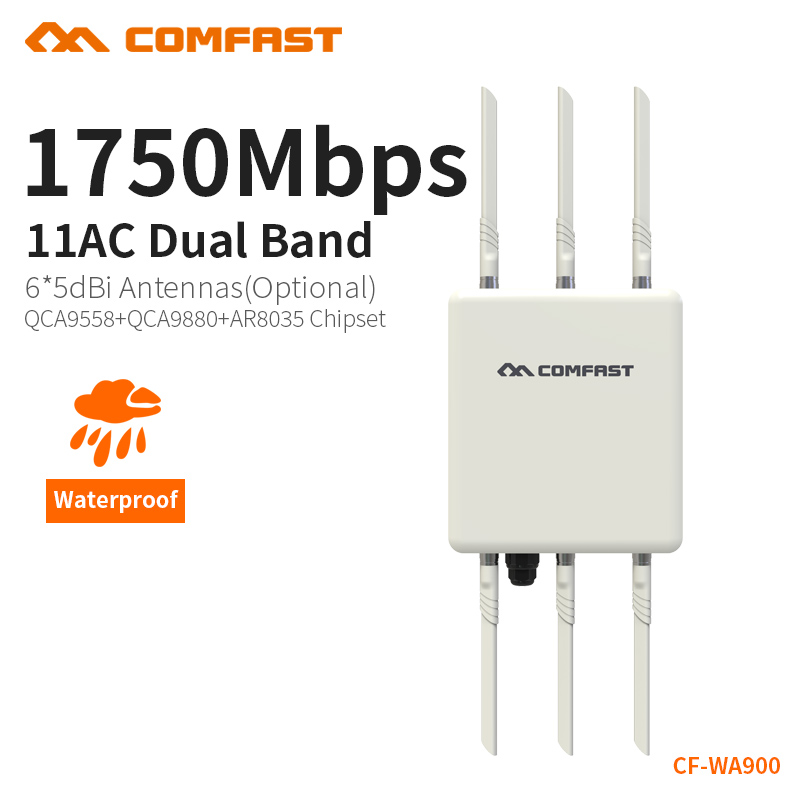COMFAST 1750Mbps Wireless Outdoor AP High Gain Antenna Access Point 5G & 2.4G CPE 6*5dbi WI-FI Coverage Outdoor Router CF-WA900