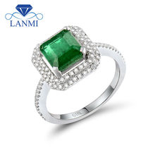 New!!! Solid 18Kt White Gold Natural Colombian Emerald Ringd Diamond Good Gemstone Jewelry for Wife Christmas Gift