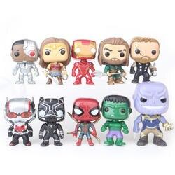 10 шт./компл. Лига Справедливости и Marvel Мстители 10 см Ironman IronSpider танос Халк модель винил рис Конструкторы для детей