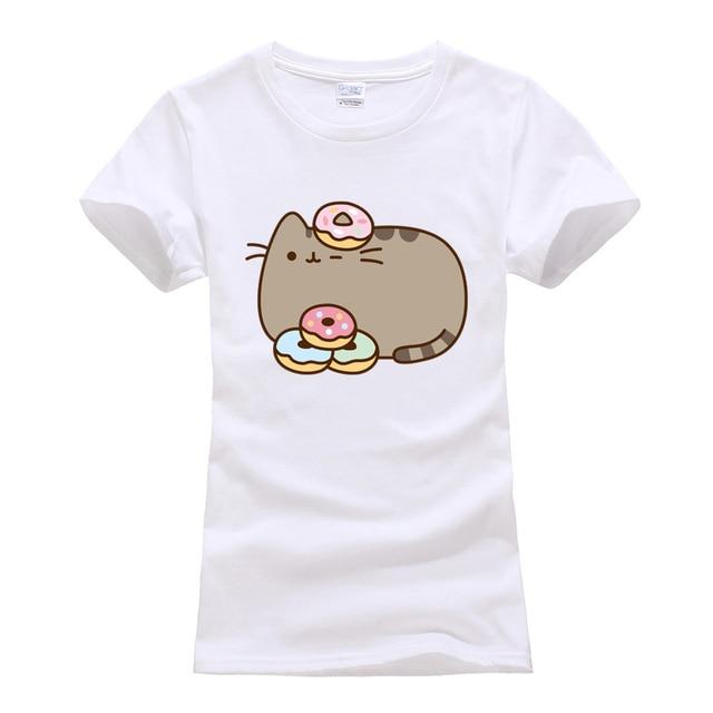 cute cat camisetas short sleeve tee shirt femme o-neck cotton t-shirts 2019 summer women's streetwear tshirt cartoon size S-XL