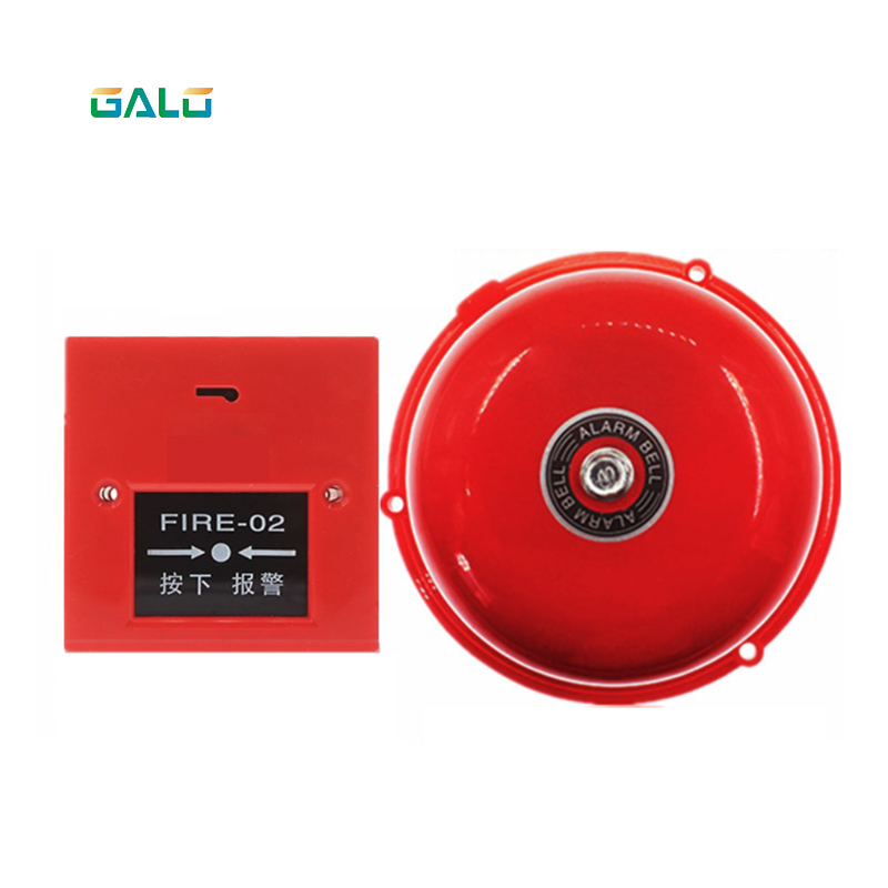 AC 220V 100mm Dia Schools Fire Alarm Round Shape Electric Bell Red Fire Alarm Home Safely Security|Emergency Alarm Button| |  - title=