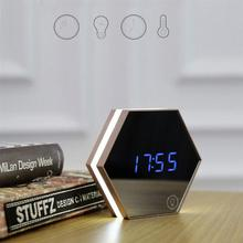 Multi-function LED Night Light Digital Alarm Clock Temperature Display Mirror Thermometer Touch Sensing Table Lamp Travel Clock