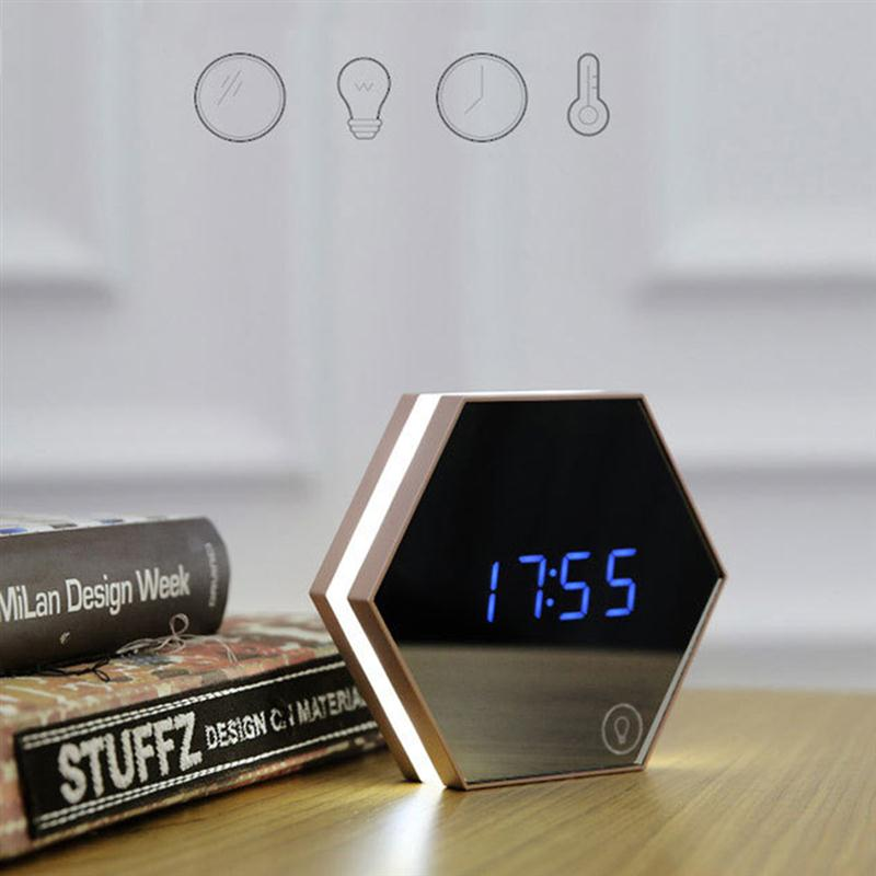 Multi Function Led Night Light Digital Alarm Clock Temperature Display Mirror Thermometer Touch Sensing Table Lamp