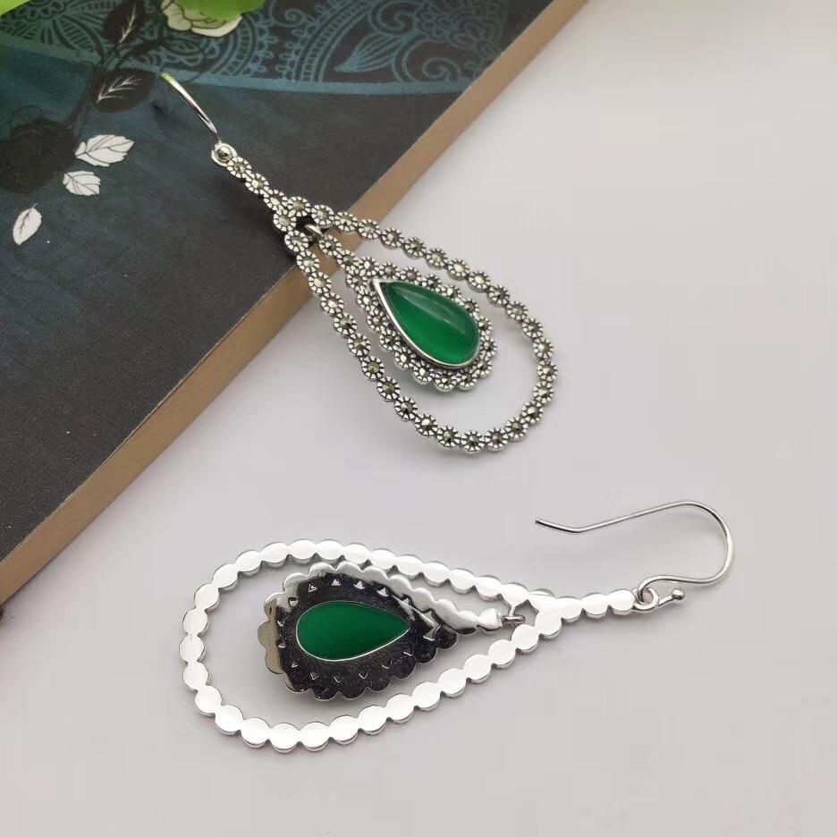 Pure S925 Silver & Green Chalcedony Dangle Earrings Womans Heart Earrings Hook Drop Fashion NewPure S925 Silver & Green Chalcedony Dangle Earrings Womans Heart Earrings Hook Drop Fashion New