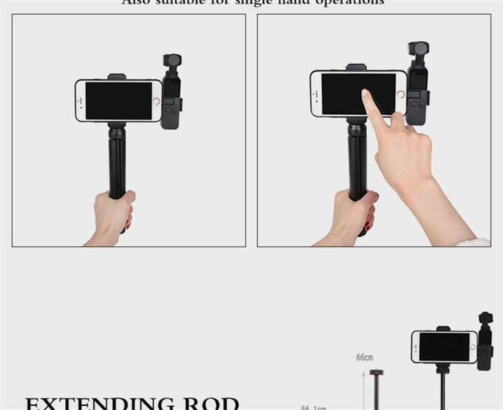 OSMO Pocket Smartphone Fixing Bracket Stand Clamp Extending Rod Tripod for DJI OSMO POCKET Gimbal Accessories 12