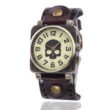 Cráneo punky de la manera de cuero de cuarzo relojes mujeres de los hombres de vaquero vintage bronze dial casual vestido reloj reloj relogio masculino