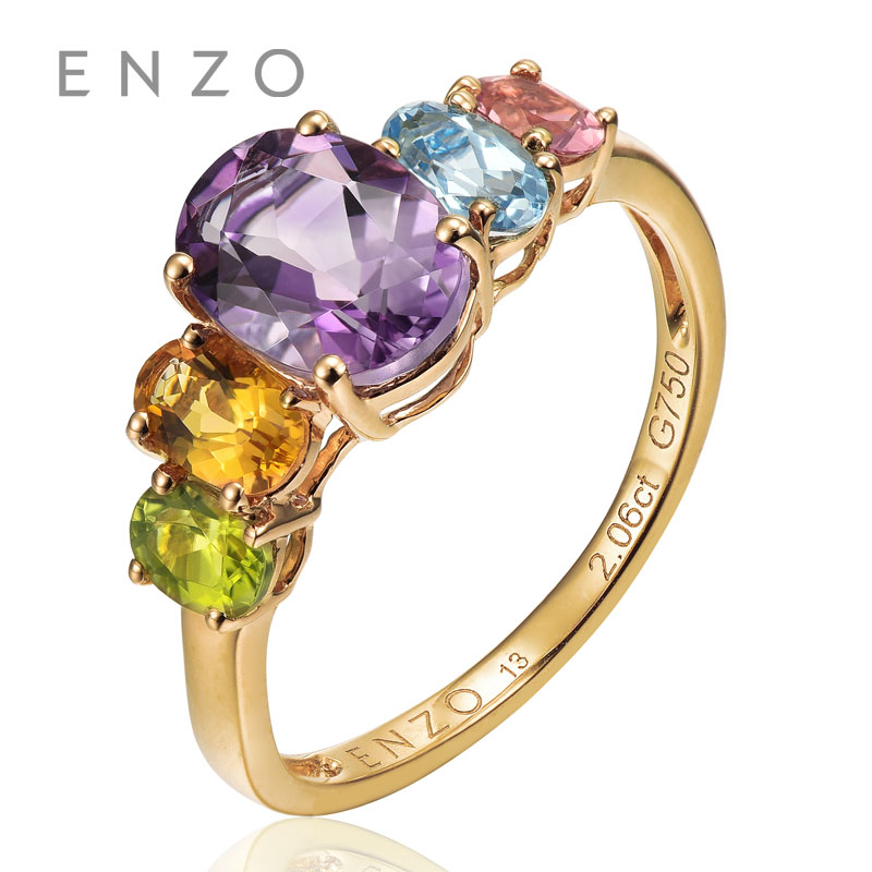 ENZO Rainbow 18K Gold Wave Ring Natural Colourful Crystal Ring With Fancy Design Wonderful Jewelry