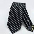 Venda quente Homens de Negócios Gravata de Poliéster de Luxo Clássico Dos Homens da Novidade Laços Cravates Derramar Hommes 2016 Novos Homens Laço Da Listra preto