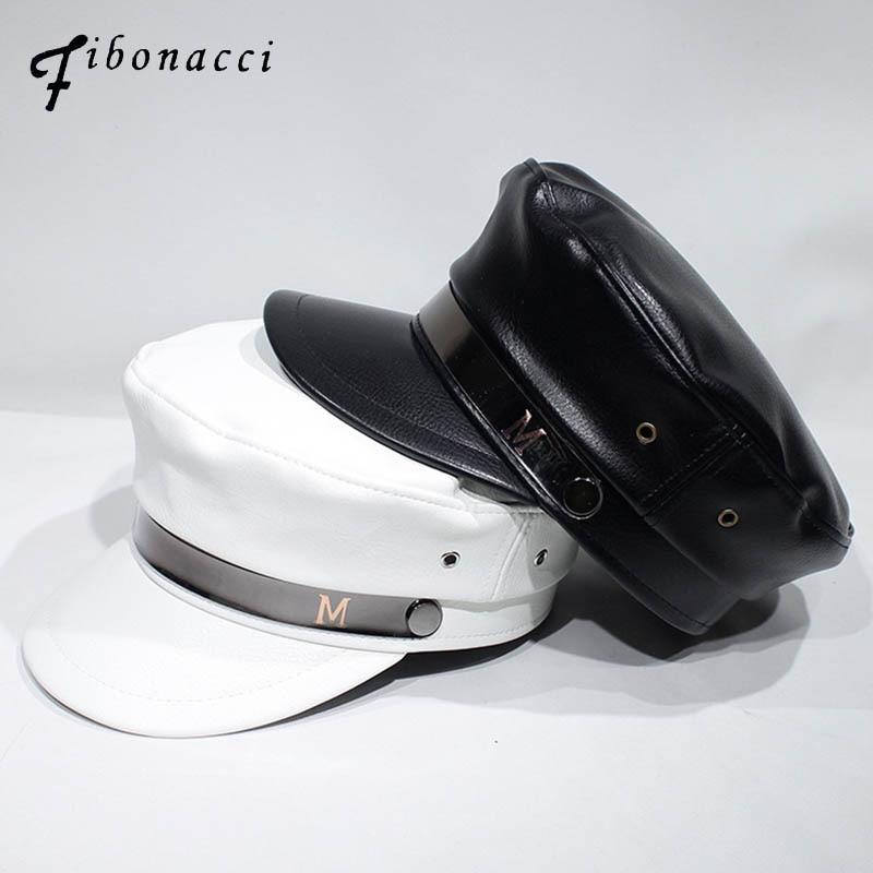 Fibonacci New Fashion Military Hats For Women High Quality Ladies Hat Solid Flat Top Hat PU Leather Bone Captain  Berets