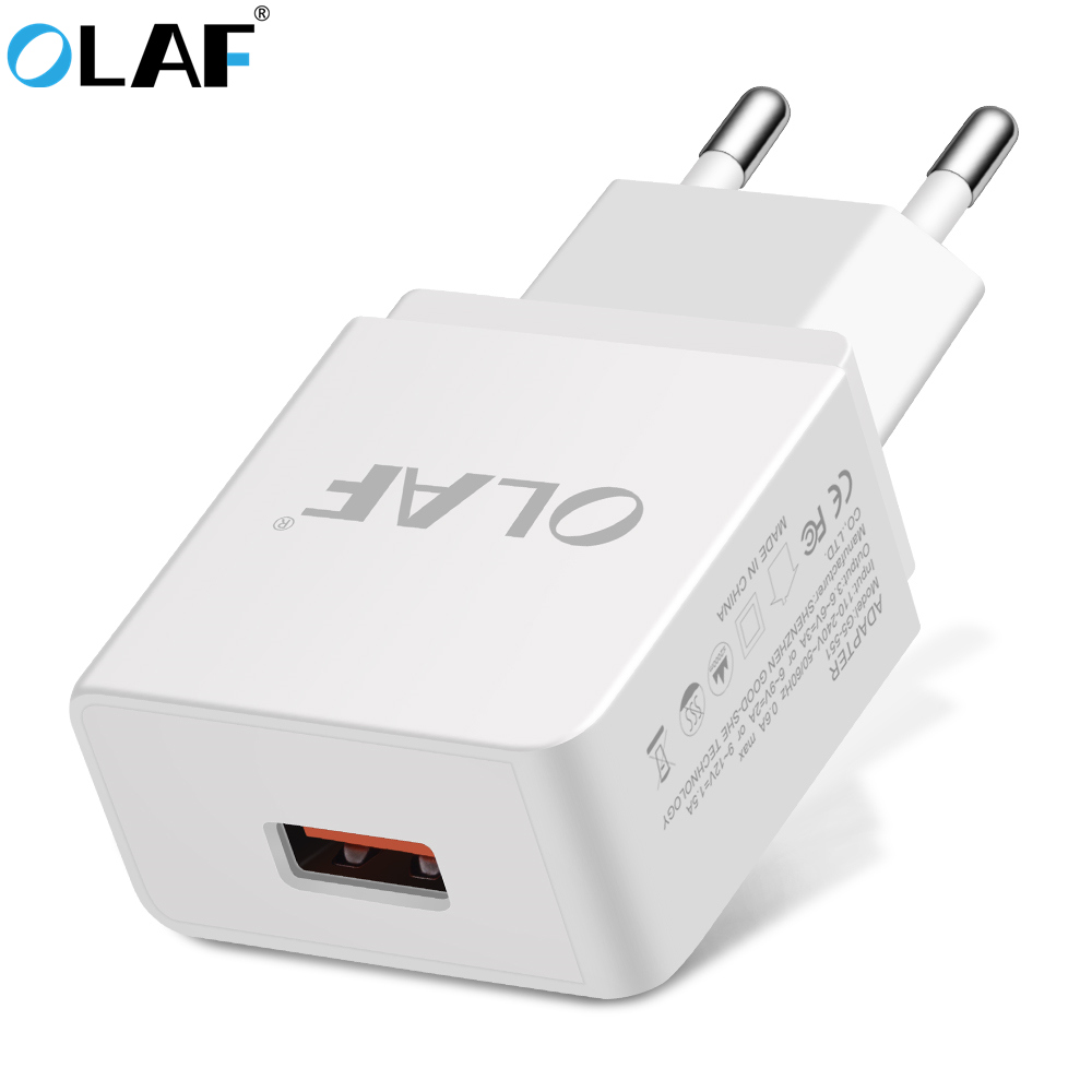 OLAF USB <font><b>Charger</b></font> 18W EU/US Universal Quick Charge 3.0 Fast Travel <font><b>Wall</b></font> Mobile <font><b>Phone</b></font> <font><b>Charger</b></font> For iPhone 6 7 8 plus Samsung Huawei