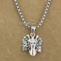 925 Sterling Silver Naked Angel Wing Charm Pendant punk biker men9S015A