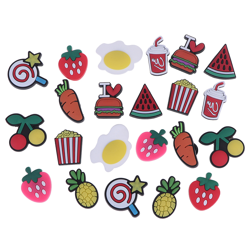 1 Set=10pcs PVC Novelty Bowties Food Shoes Decoration Fit For Garden Shoes Sandals Croc Ice Cream Shoes Buckle Kids Gifts Girls