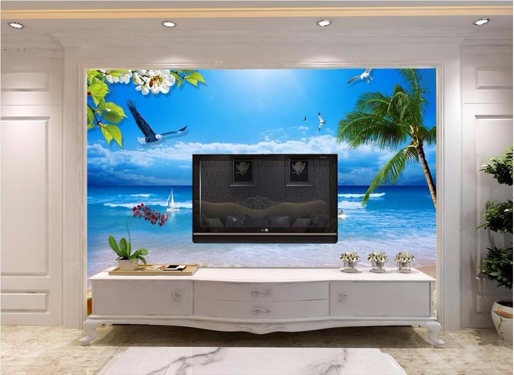 Benutzerdefinierte Mural 3d Wallpaper Bild Sea World Strand Segeln Seagull  Zimmer Dekor Malerei 3d Wandbilder Wallpaper Für Wände 3 D In  Benutzerdefinierte ...