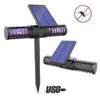 Светодиодный уличный дворовый садовый светильник на солнечной энергии против комаров насекомых вредителей жуков Zapper ловушка usb фонарь