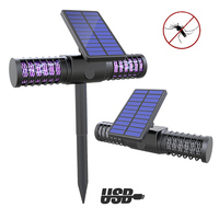 LED Solar Powered Outdoor Yard Garden Lawn Light Anti Mosquito Insect Pest Bug Zapper Killer Trapping USB Lantern Lamp