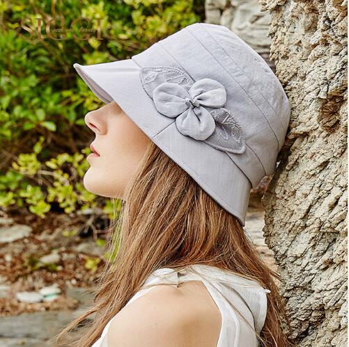 PJ.SDZM 2PCS/LOT Summer Female Sunshat Korean Plate Flower Hat Casual Travel Caps