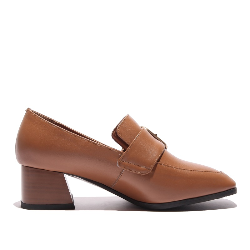 Brun Chaussures Zvq Taille Pompes À Nouveau Femmes En Haute Noir Cuir Qualité De Mode Métal Printemps brown Décoration La Black L'extérieur Véritable Plus f55RZxrqw