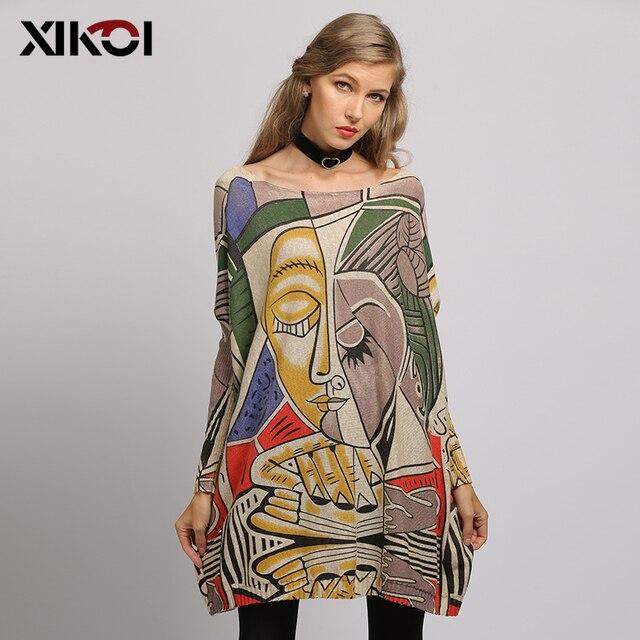 XIKOI, nuevo suéter para mujer, suéteres de manga larga de murciélago con estampado abstracto de gran tamaño, suéteres casuales de moda de punto con cuello redondo, ropa, suéter