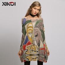 XIKOI חדש נשים סוודר ענקי תקציר הדפסת ארוך עטלף סוודרי שרוול עגול צוואר סרוג אופנה מזדמן סוודר בגדים