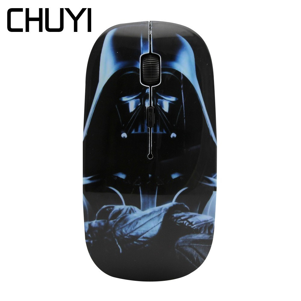 CHUYI Wireless Mouse Star Wars Darth Vader Optical USB Mause 1600 DPI Ultra Thin Computer Game Mini Mice For PC Laptop Notebook image
