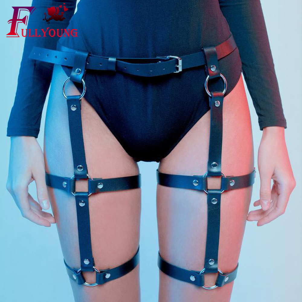 Fullyoung  Women Harness Body Belts Sexy Harajuku Handmade Punk Bow-knot Garter Leg Ring PU Adjustable Stock Fashion
