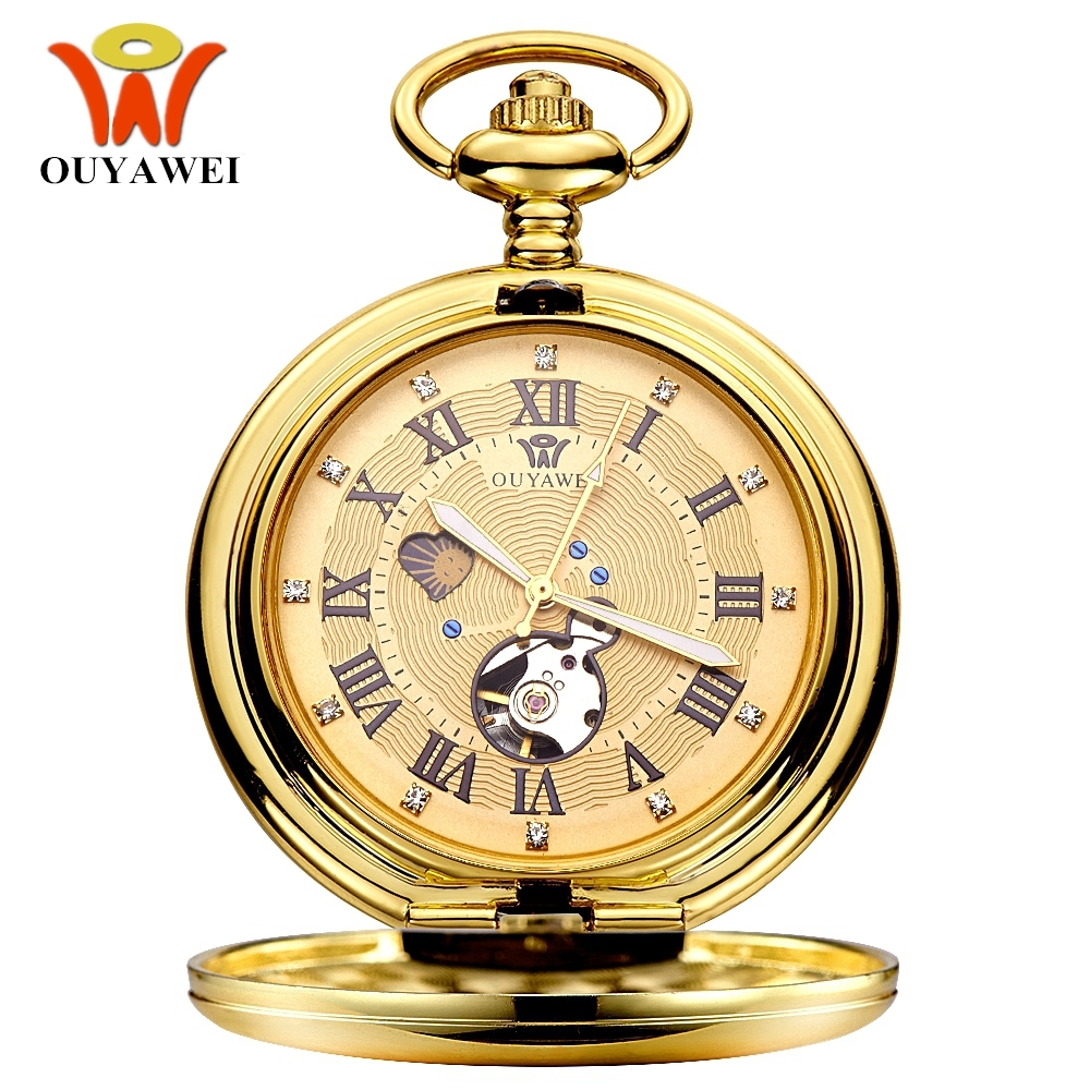 NEW Luxury OUYAWEI Mechanical Pocket Watch Men Full Steel Case Pocket Fob Watch Analog Gold Dial Steampunk Vintage Hombre Clock цена и фото