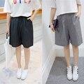 J2FE220 #8202 Летний Новый Женская Мода Свободные колен Брюки Женские Классические Stripd Высокой Талии Брюки Шорты Капри