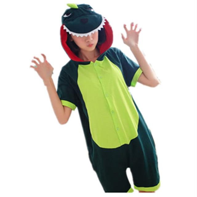 bbf639150d Cartoon Anime Green Dinosaur Cosplay Costume Summer Jumpsuit Short Sleeve  Animal Godzilla Pajamas Onesie Adult Child Sleepwear