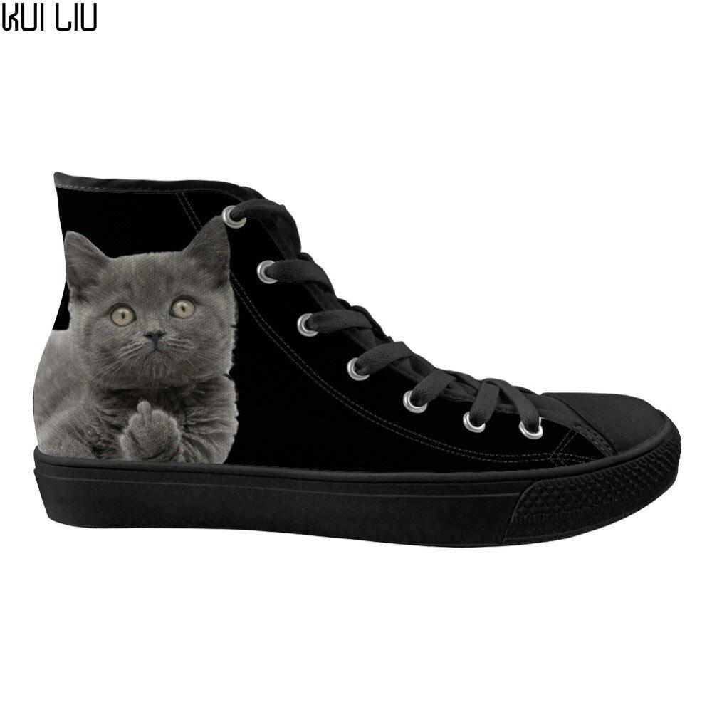 Chaussures plates personnalisées noir drôle 3D doigt moyen chat impression chaussures en toile haut pour femmes mode vulcaniser Zapatos