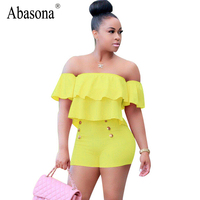 Abasona Summer Short Playsuit Women Off The Shoulder Ruffle Bodysuits 2017 New Casual Overalls Buttons Shorts