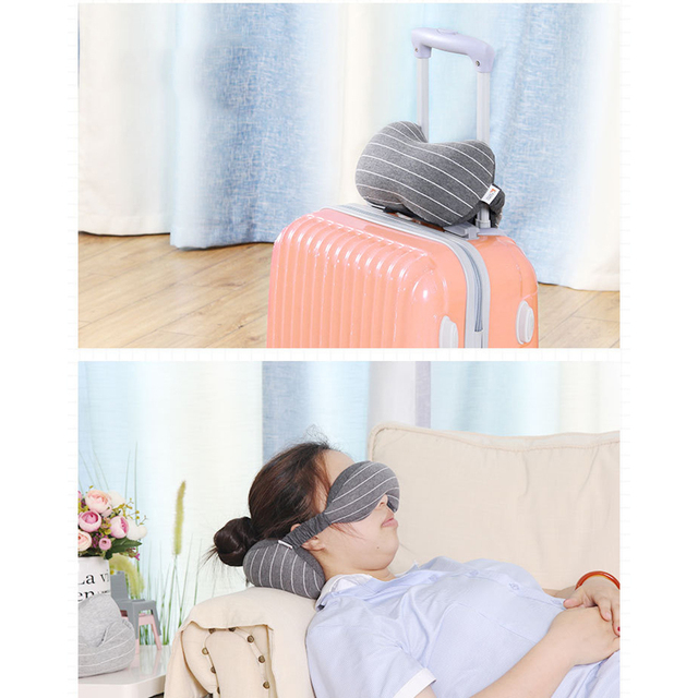 Useful Portable Travel Compact Pillow Eye Mask 2 in 1-Soft Goggles Neck Support Pillow for Airplane Office Napping Trip Supplies 3