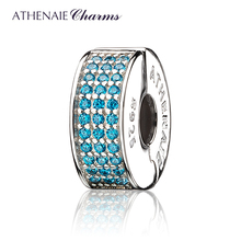 ATHENAIE 926 Silver Clip Spacer Pave CZ Enamel Charm Fit All European Bracelets Necklace