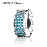 ATHENAIE 926 Silver Clip Spacer Pave CZ Enamel Charm Fit All European Bracelets Necklace