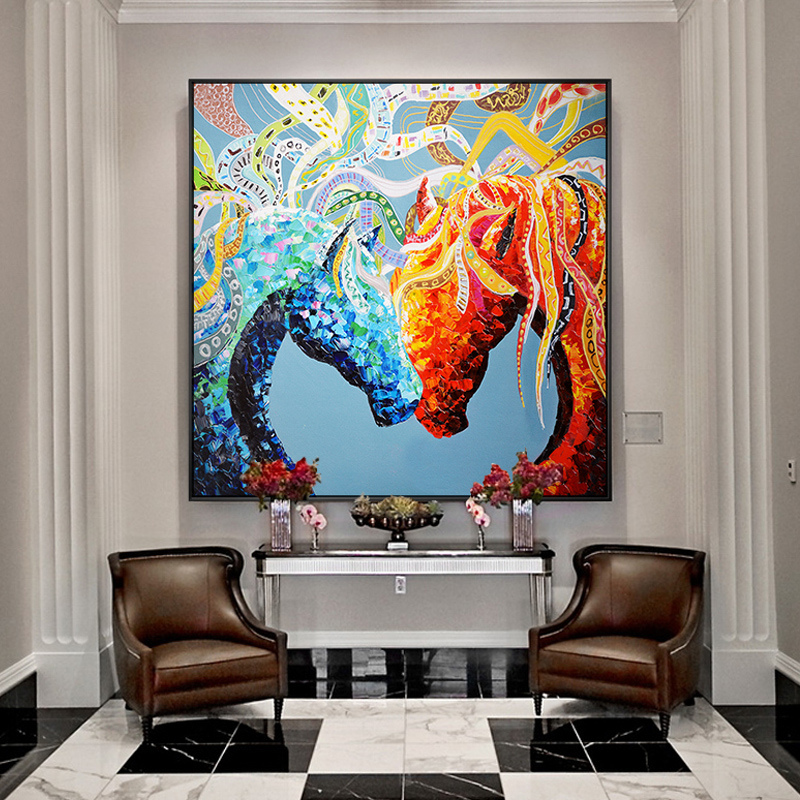 Colorful Horses On Canvas No Frame Canvas Paintings Wall Picture Runing Horse Printed Canvas Wall Mural Prints For Living room no frame canvas