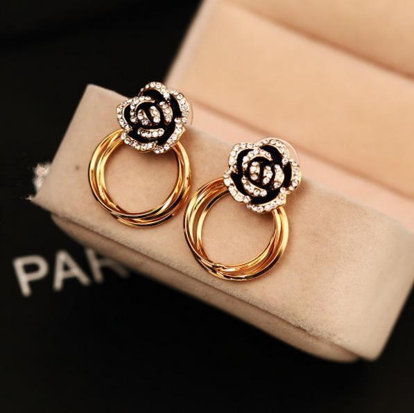 87280dd92db7 EH76 famous brand de marque marcas camellia New 2016 jewelry brinco boucles  d oreilles bijoux bijouterie stud earrings for women-in Stud Earrings from  ...