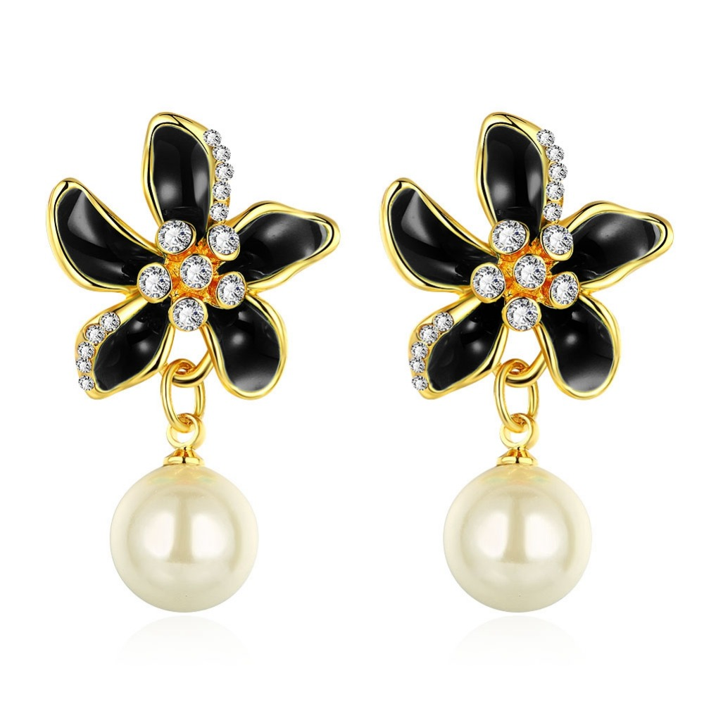 Colorful Enamel Flower Black Earring Stone Costume Jewelry Long Earrings  White Simulated Pearl In Vintage Style