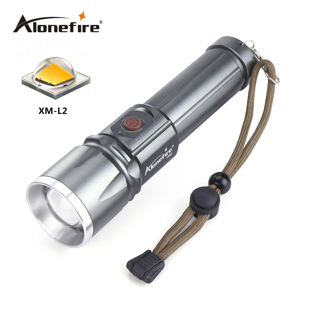 AloneFire X900 CREE XM-L2 LED Flashlight Torch Zoom Lamp Light For 26650 or 18650 Battery cree xm l t6 bicycle light 6000lumens bike light 7modes torch zoomable led flashlight 18650 battery charger bicycle clip