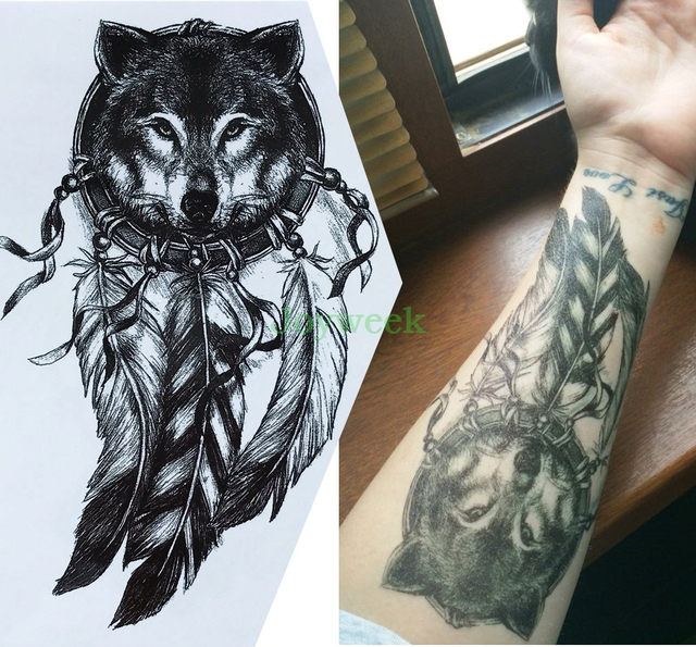 ec07000b2 Waterproof Temporary Tattoo Sticker large size dreamcatcher wolves wolf  tatto stickers flash tatoo fake tattoos for men women 7